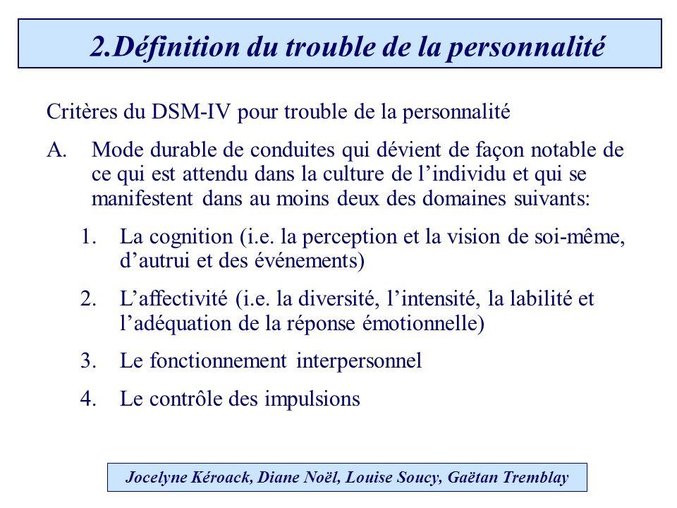 Jocelyne Kéroack, Diane Noël, Louise Soucy, Gaëtan Tremblay 2.Définition du trouble de la personnalité Critères du DSM-IV pour trouble de la personnalité A.Mode durable de conduites qui dévient de façon notable de ce qui est attendu dans la culture de lindividu et qui se manifestent dans au moins deux des domaines suivants: 1.La cognition (i.e.