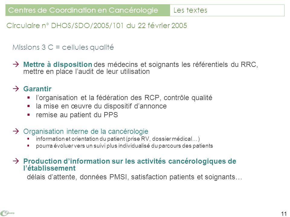 Missions 3 C = cellules qualité Mettre à disposition des médecins et soignants les référentiels du RRC, mettre en place laudit de leur utilisation Gar
