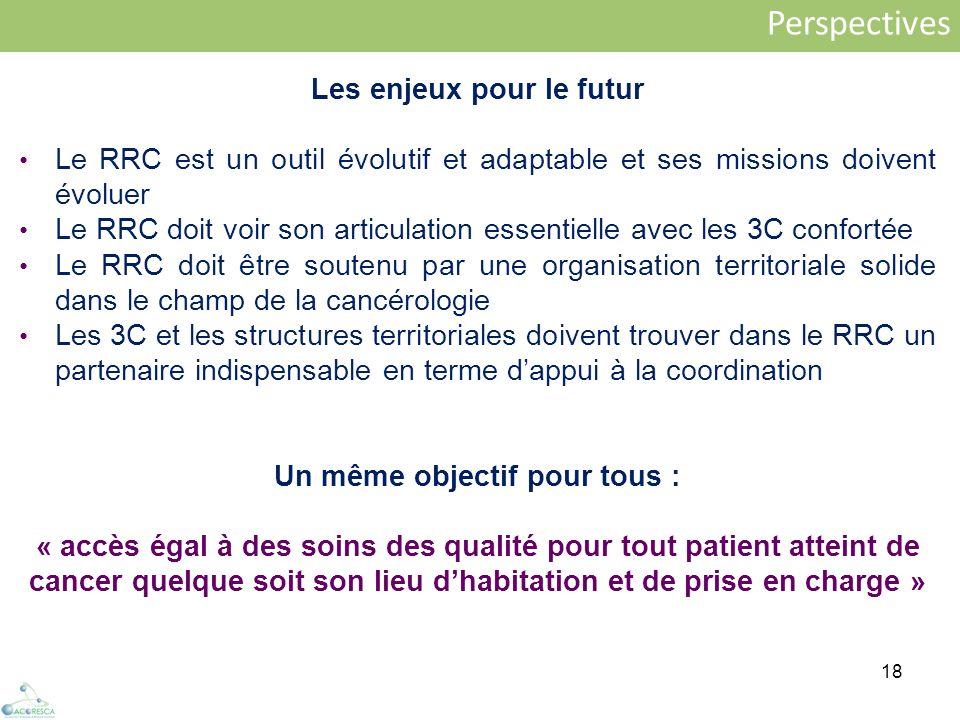 18 Perspectives Les enjeux pour le futur Le RRC est un outil évolutif et adaptable et ses missions doivent évoluer Le RRC doit voir son articulation e