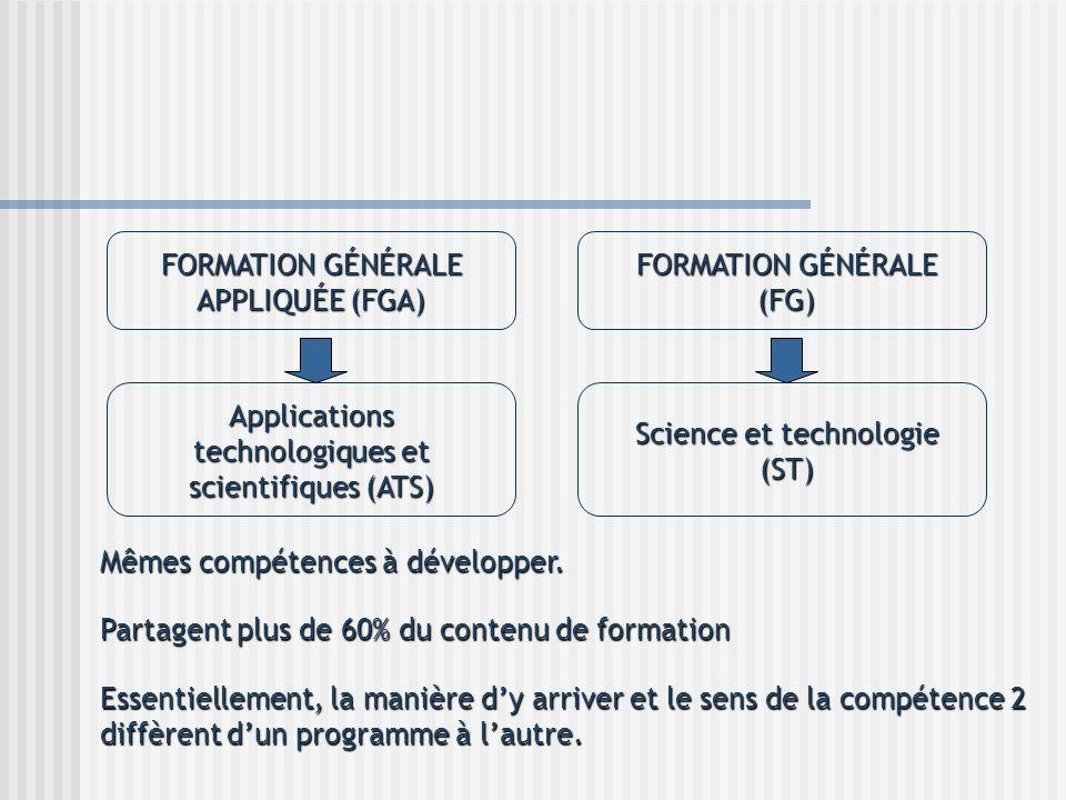 FORMATION GÉNÉRALE APPLIQUÉE (FGA) FORMATION GÉNÉRALE (FG) Applications technologiques et scientifiques (ATS) Science et technologie (ST) Mêmes compét