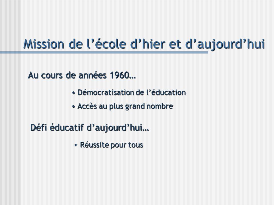 Mission de lécole dhier et daujourdhui Au cours de années 1960… Démocratisation de léducation Démocratisation de léducation Accès au plus grand nombre