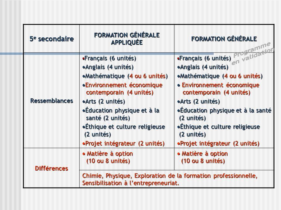 5 e secondaire FORMATION GÉNÉRALE APPLIQUÉE FORMATION GÉNÉRALE Ressemblances Français (6 unités) Français (6 unités) Anglais (4 unités) Anglais (4 uni