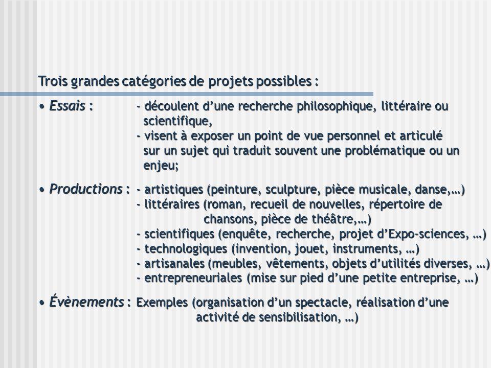 Trois grandes catégories de projets possibles : Essais : - découlent dune recherche philosophique, littéraire ou scientifique, - visent à exposer un p