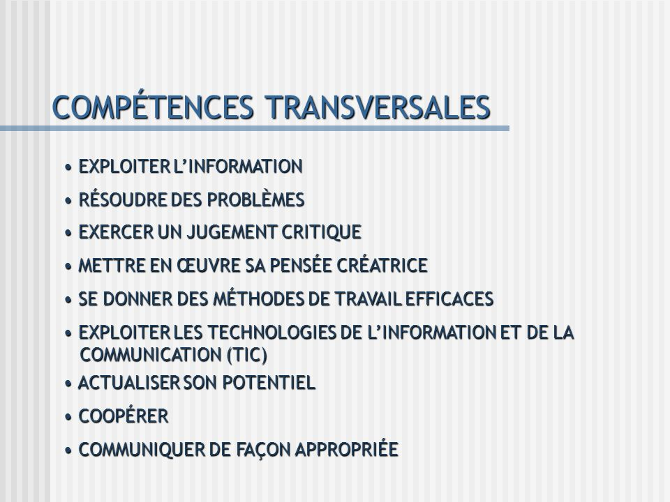 COMPÉTENCES TRANSVERSALES EXPLOITER LINFORMATION EXPLOITER LINFORMATION RÉSOUDRE DES PROBLÈMES RÉSOUDRE DES PROBLÈMES EXERCER UN JUGEMENT CRITIQUE EXE