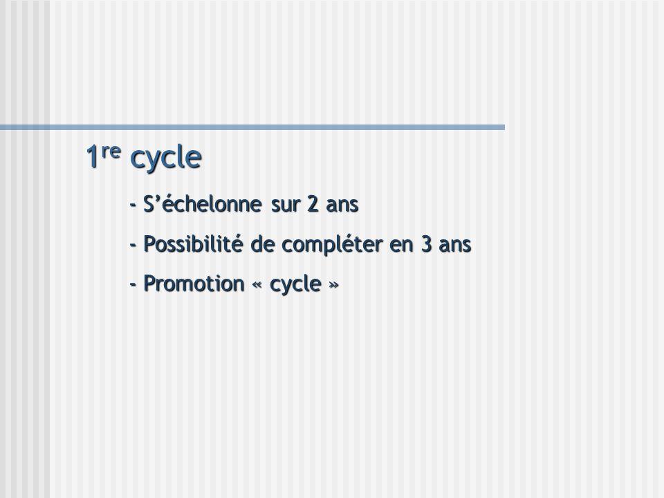 1 re cycle - Séchelonne sur 2 ans - Possibilité de compléter en 3 ans - Promotion « cycle »
