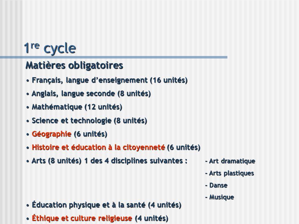 1 re cycle Matières obligatoires Français, langue denseignement (16 unités) Français, langue denseignement (16 unités) Anglais, langue seconde (8 unit