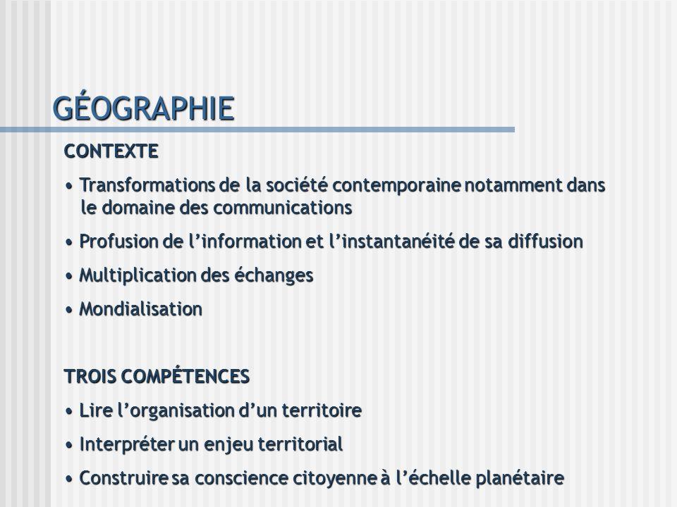 GÉOGRAPHIE CONTEXTE Transformations de la société contemporaine notamment dans le domaine des communications Transformations de la société contemporai