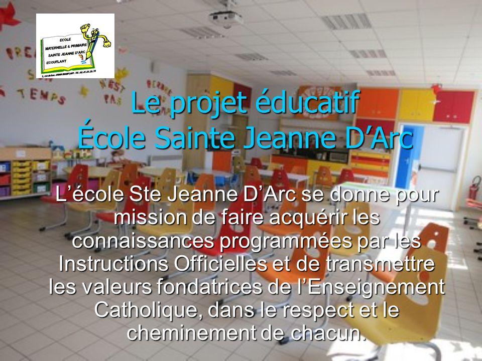 Lécole Ste Jeanne DArc veut également être un lieu où lenfant puisse sépanouir et acquérir des valeurs éducatives fondamentales telles que: