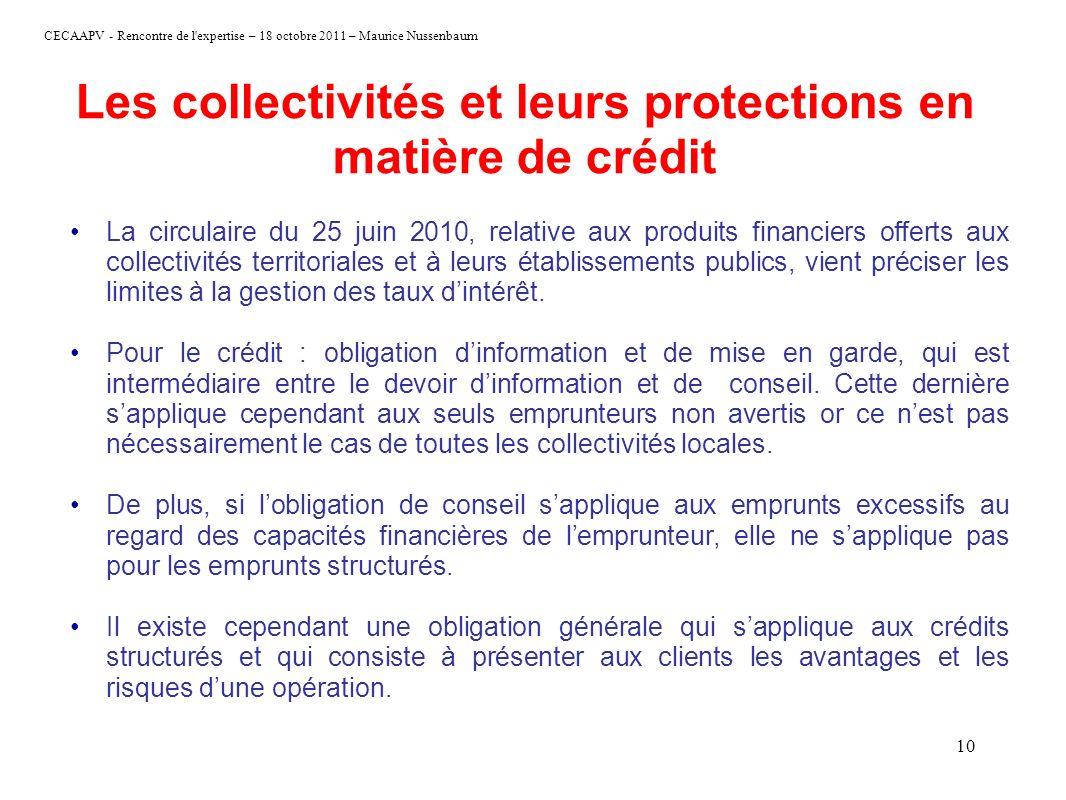 CECAAPV - Rencontre de l'expertise – 18 octobre 2011 – Maurice Nussenbaum 10 Les collectivités et leurs protections en matière de crédit La circulaire
