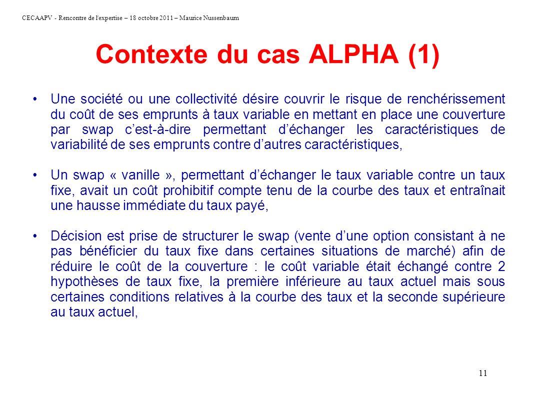 CECAAPV - Rencontre de l'expertise – 18 octobre 2011 – Maurice Nussenbaum 11 Contexte du cas ALPHA (1) Une société ou une collectivité désire couvrir