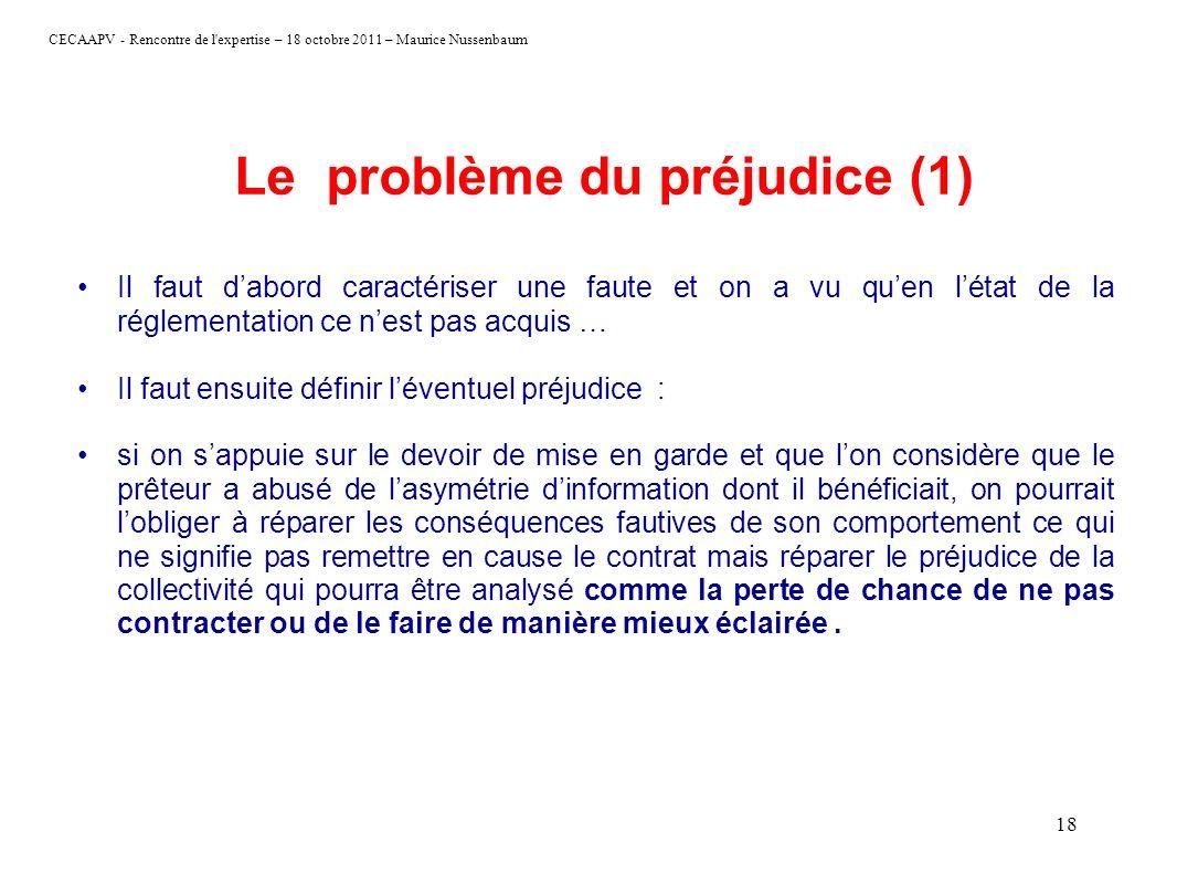 CECAAPV - Rencontre de l'expertise – 18 octobre 2011 – Maurice Nussenbaum 18 Le problème du préjudice (1) Il faut dabord caractériser une faute et on