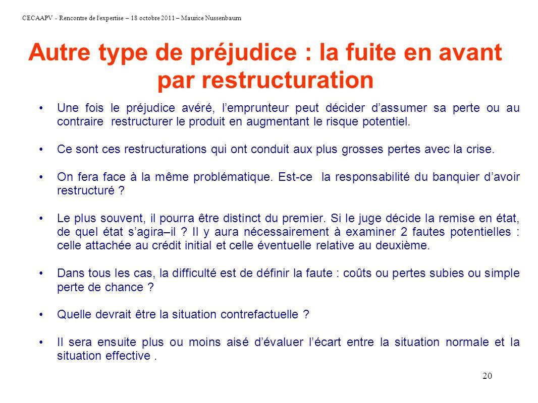 CECAAPV - Rencontre de l'expertise – 18 octobre 2011 – Maurice Nussenbaum 20 Autre type de préjudice : la fuite en avant par restructuration Une fois