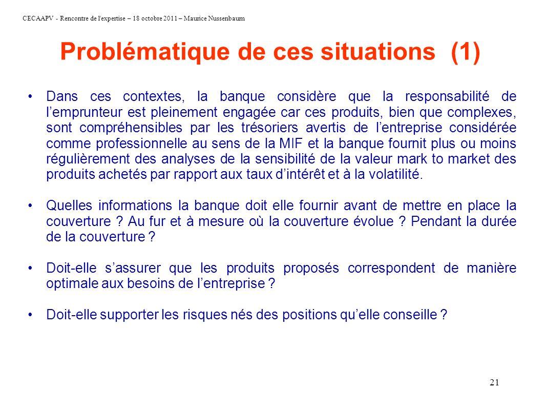 CECAAPV - Rencontre de l'expertise – 18 octobre 2011 – Maurice Nussenbaum 21 Problématique de ces situations (1) Dans ces contextes, la banque considè
