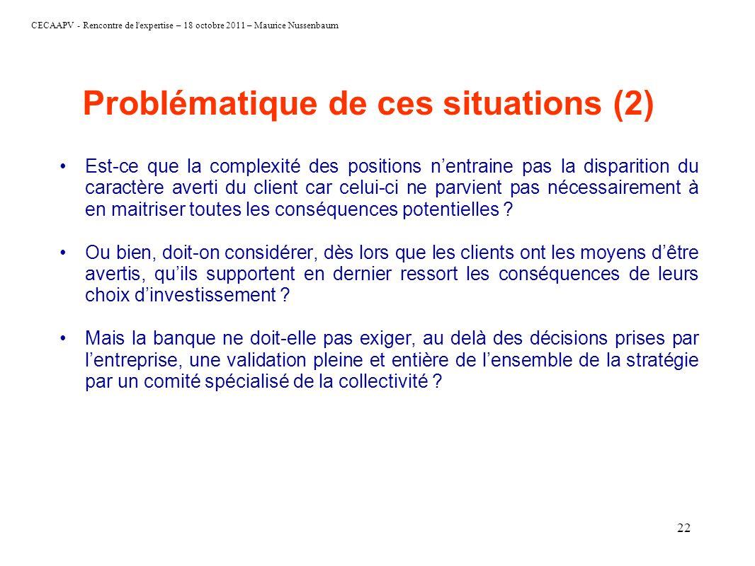 CECAAPV - Rencontre de l'expertise – 18 octobre 2011 – Maurice Nussenbaum 22 Problématique de ces situations (2) Est-ce que la complexité des position