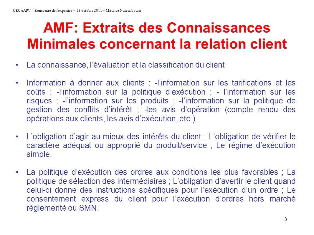 CECAAPV - Rencontre de l'expertise – 18 octobre 2011 – Maurice Nussenbaum 3 AMF: Extraits des Connaissances Minimales concernant la relation client La
