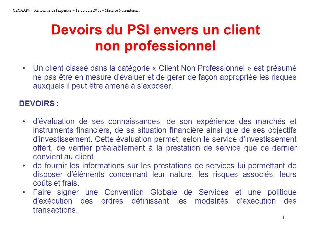 CECAAPV - Rencontre de l'expertise – 18 octobre 2011 – Maurice Nussenbaum 4 Devoirs du PSI envers un client non professionnel Un client classé dans la