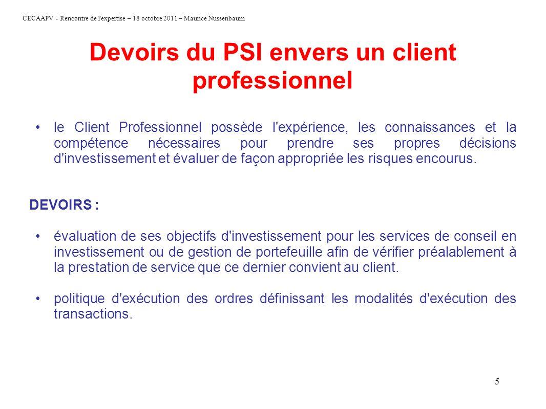 CECAAPV - Rencontre de l'expertise – 18 octobre 2011 – Maurice Nussenbaum 5 Devoirs du PSI envers un client professionnel le Client Professionnel poss