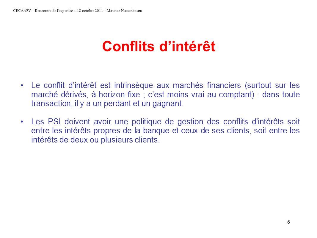 CECAAPV - Rencontre de l'expertise – 18 octobre 2011 – Maurice Nussenbaum 6 Conflits dintérêt Le conflit dintérêt est intrinsèque aux marchés financie