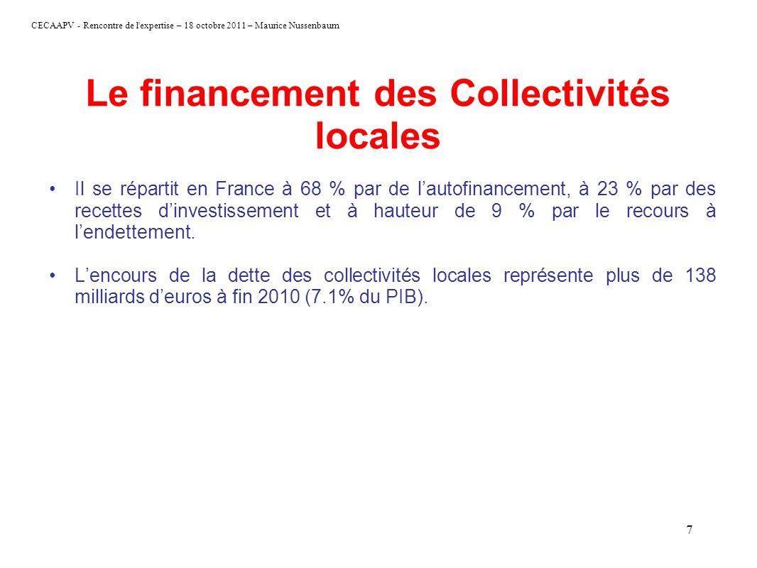 CECAAPV - Rencontre de l'expertise – 18 octobre 2011 – Maurice Nussenbaum 7 Le financement des Collectivités locales Il se répartit en France à 68 % p