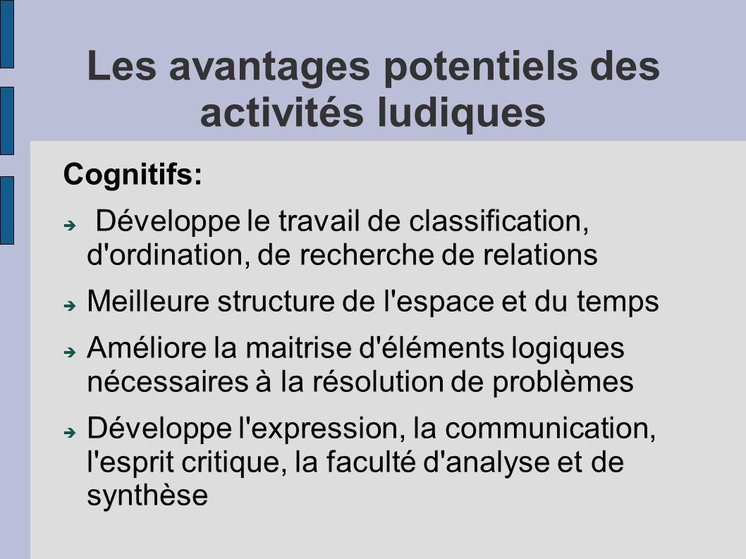 Les avantages potentiels des activités ludiques Cognitifs: Développe le travail de classification, d'ordination, de recherche de relations Meilleure s