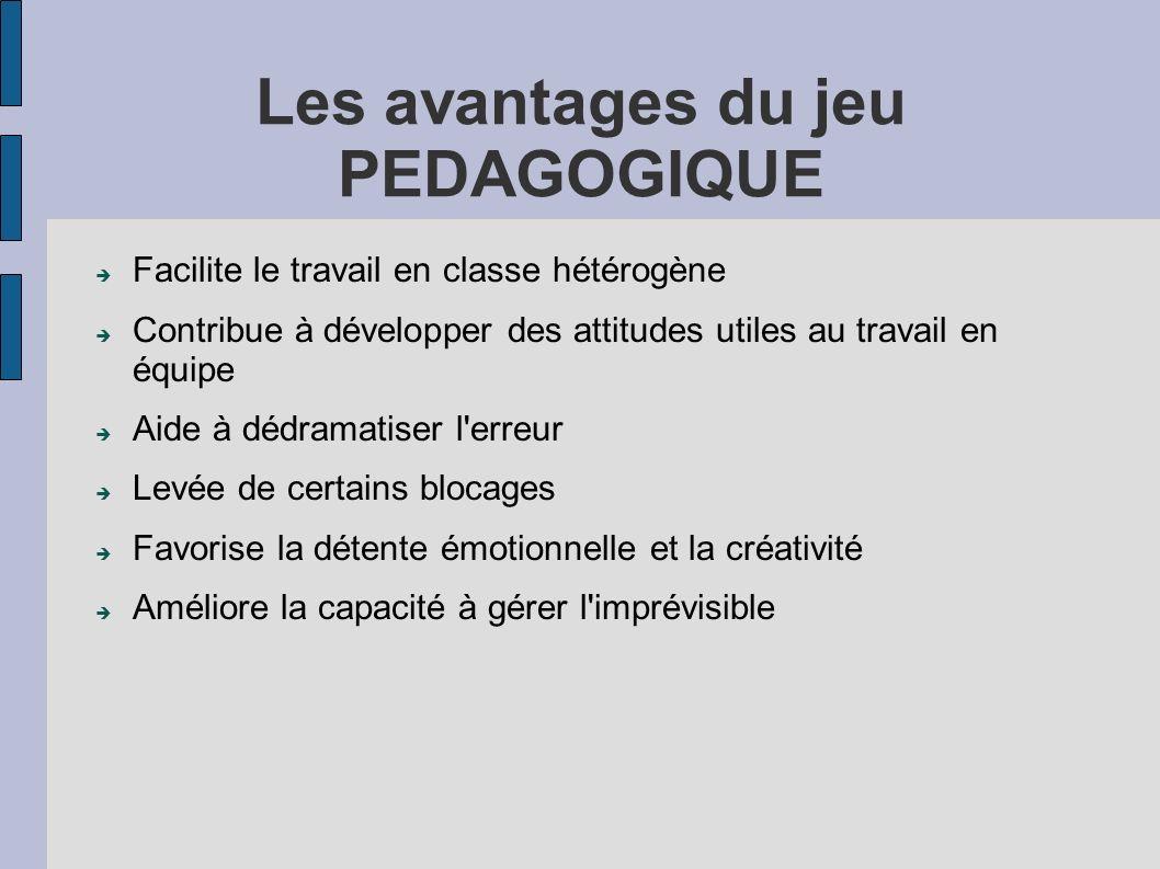 Les avantages du jeu PEDAGOGIQUE Facilite le travail en classe hétérogène Contribue à développer des attitudes utiles au travail en équipe Aide à dédr
