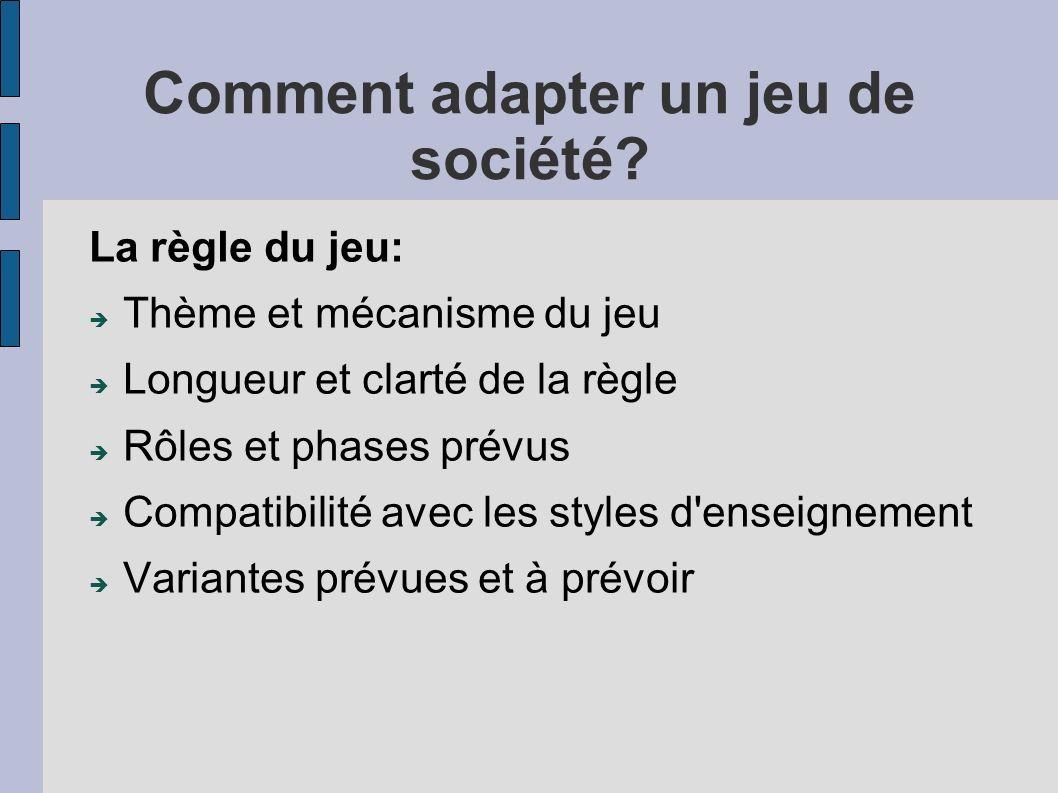 Comment adapter un jeu de société? La règle du jeu: Thème et mécanisme du jeu Longueur et clarté de la règle Rôles et phases prévus Compatibilité avec