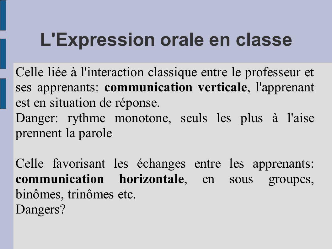 L'Expression orale en classe Celle liée à l'interaction classique entre le professeur et ses apprenants: communication verticale, l'apprenant est en s