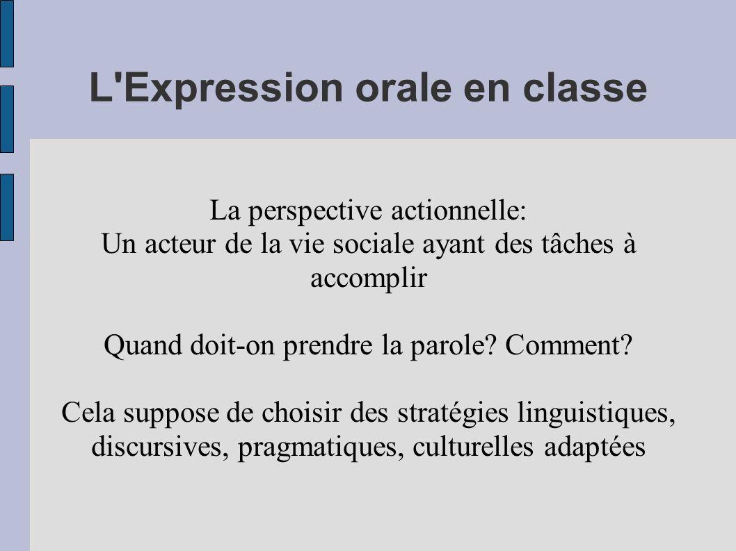 L'Expression orale en classe La perspective actionnelle: Un acteur de la vie sociale ayant des tâches à accomplir Quand doit-on prendre la parole? Com
