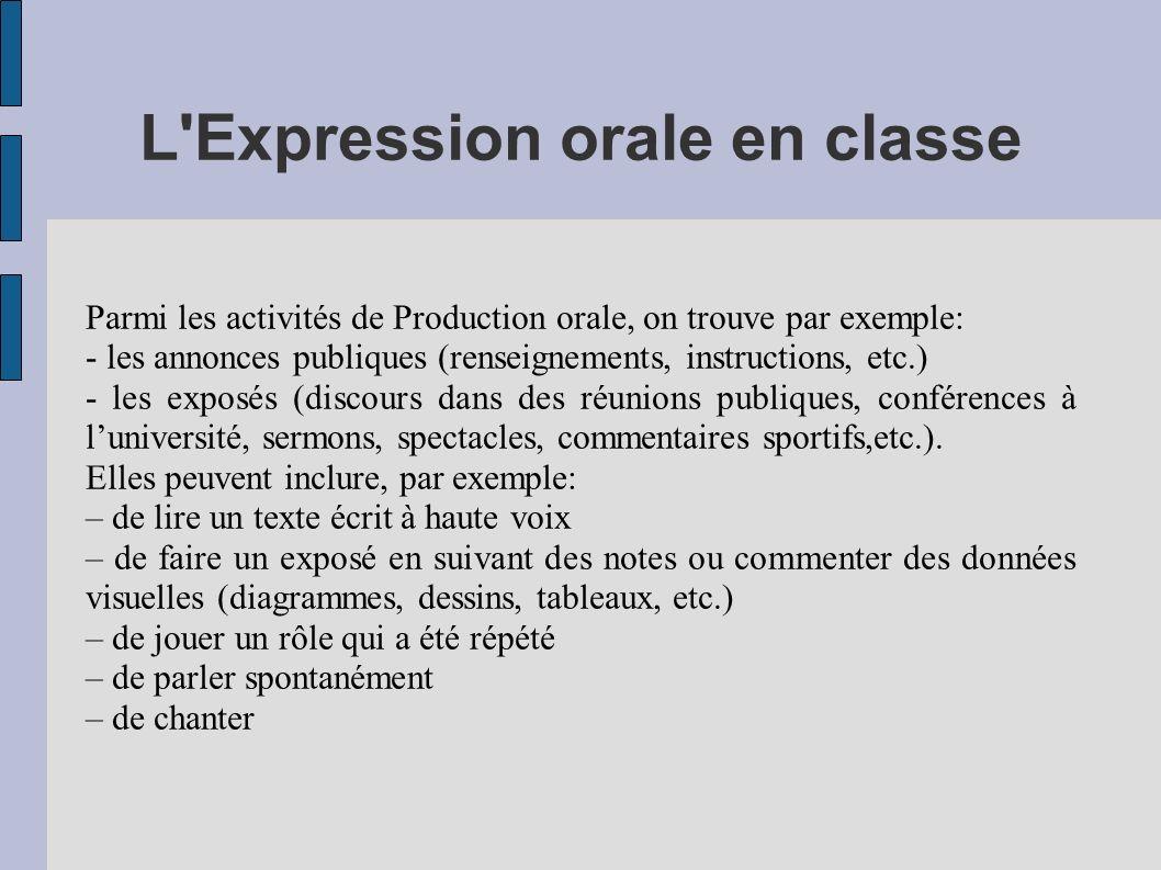 L'Expression orale en classe Parmi les activités de Production orale, on trouve par exemple: - les annonces publiques (renseignements, instructions, e