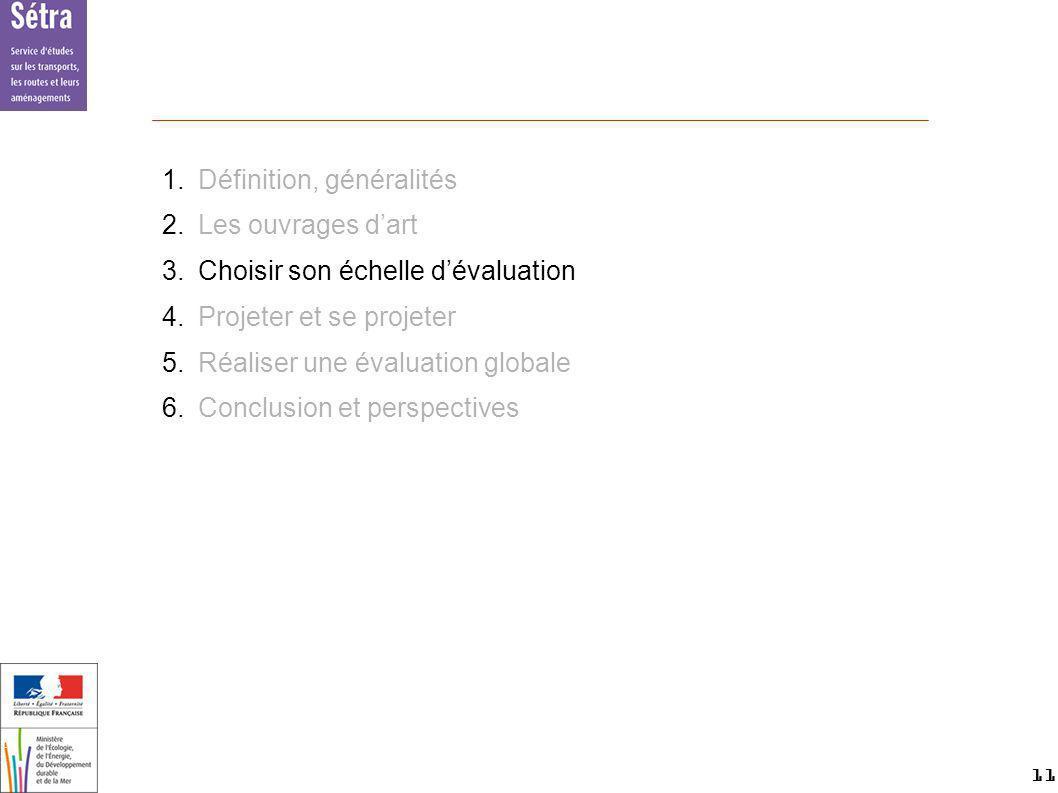 11 11 Setra 1.Définition, généralités 2.Les ouvrages dart 3.Choisir son échelle dévaluation 4.Projeter et se projeter 5.Réaliser une évaluation global