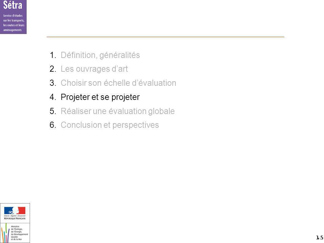 15 15 Setra 1.Définition, généralités 2.Les ouvrages dart 3.Choisir son échelle dévaluation 4.Projeter et se projeter 5.Réaliser une évaluation global