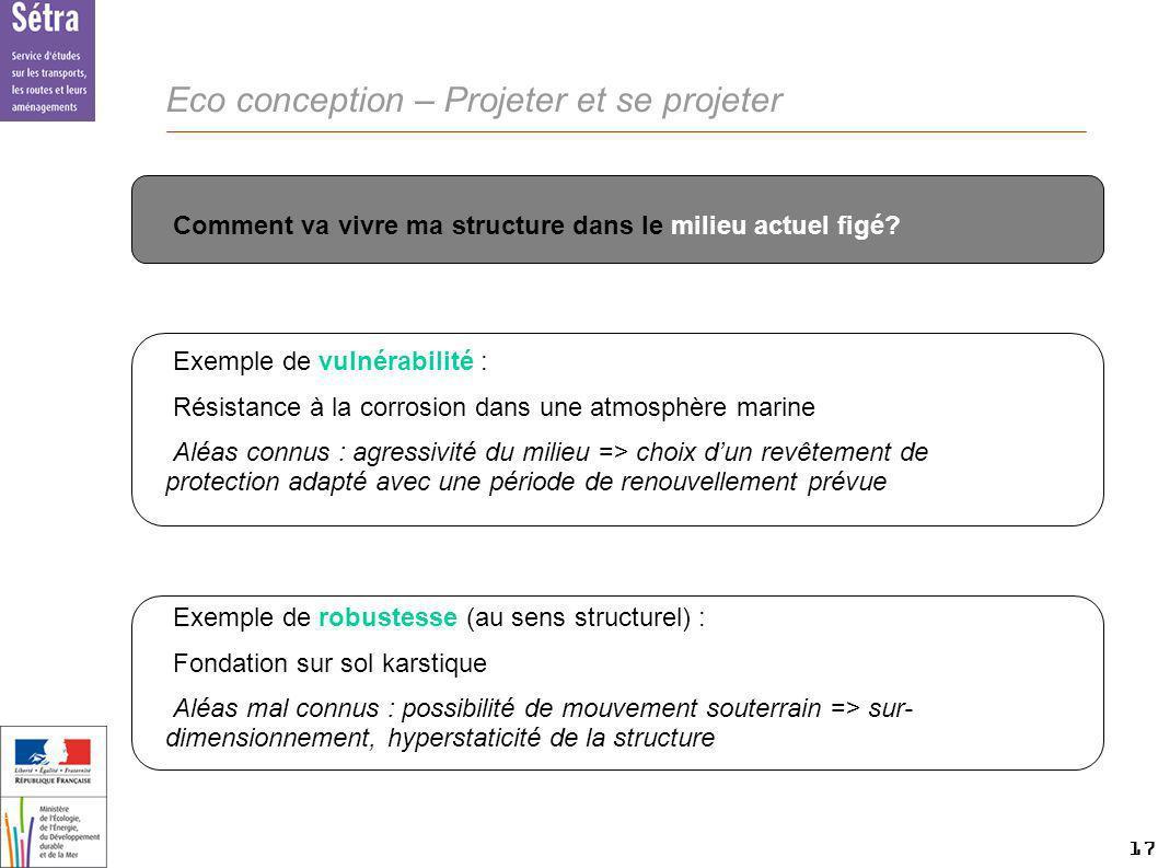 17 17 Setra Eco conception – Projeter et se projeter Comment va vivre ma structure dans le milieu actuel figé? Exemple de vulnérabilité : Résistance à