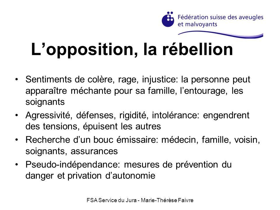 FSA Service du Jura - Marie-Thérèse Faivre Accompagnement dans la rébellion Ecouter, accepter la colère Signaler que la colère est légitime Favoriser lexpression de la colère Eviter les conseils Ne pas surprotéger Signaler que la pseudo-indépendance peut être dangereuse