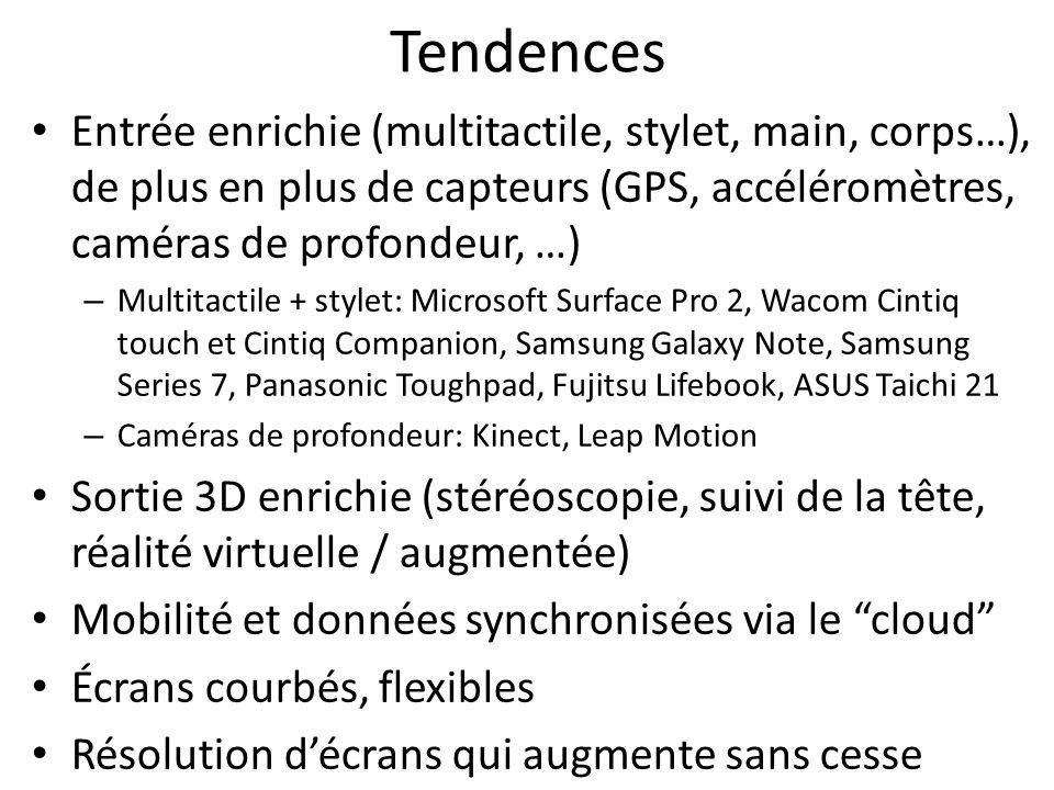 Tendences Entrée enrichie (multitactile, stylet, main, corps…), de plus en plus de capteurs (GPS, accéléromètres, caméras de profondeur, …) – Multitactile + stylet: Microsoft Surface Pro 2, Wacom Cintiq touch et Cintiq Companion, Samsung Galaxy Note, Samsung Series 7, Panasonic Toughpad, Fujitsu Lifebook, ASUS Taichi 21 – Caméras de profondeur: Kinect, Leap Motion Sortie 3D enrichie (stéréoscopie, suivi de la tête, réalité virtuelle / augmentée) Mobilité et données synchronisées via le cloud Écrans courbés, flexibles Résolution décrans qui augmente sans cesse