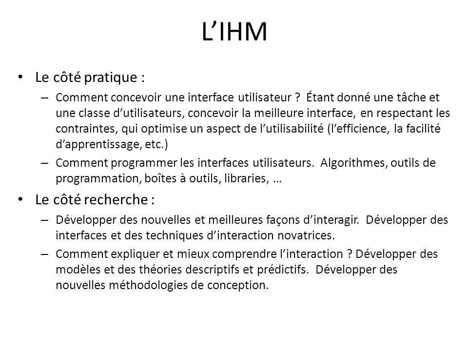 LIHM Le côté pratique : – Comment concevoir une interface utilisateur .