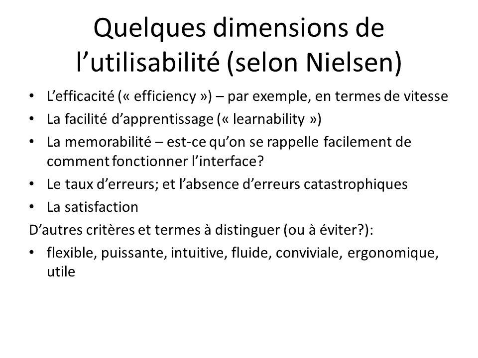 Quelques dimensions de lutilisabilité (selon Nielsen) Lefficacité (« efficiency ») – par exemple, en termes de vitesse La facilité dapprentissage (« learnability ») La memorabilité – est-ce quon se rappelle facilement de comment fonctionner linterface.