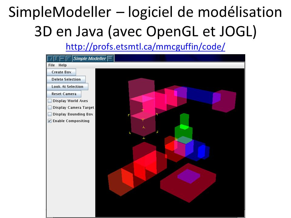SimpleModeller – logiciel de modélisation 3D en Java (avec OpenGL et JOGL) http://profs.etsmtl.ca/mmcguffin/code/ http://profs.etsmtl.ca/mmcguffin/code/