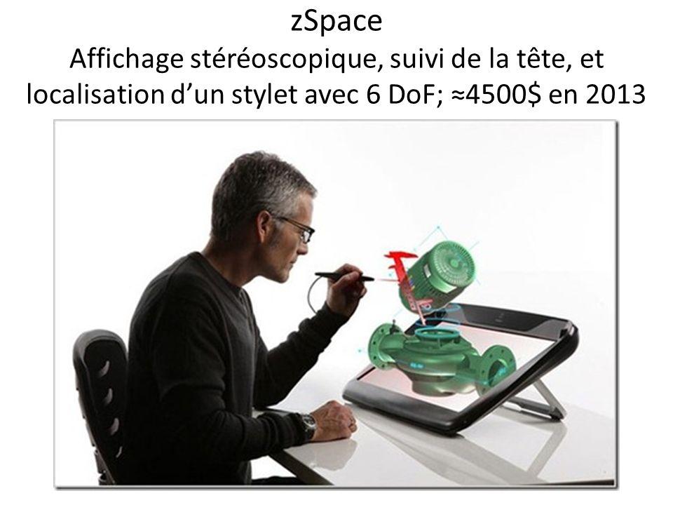 zSpace Affichage stéréoscopique, suivi de la tête, et localisation dun stylet avec 6 DoF; 4500$ en 2013