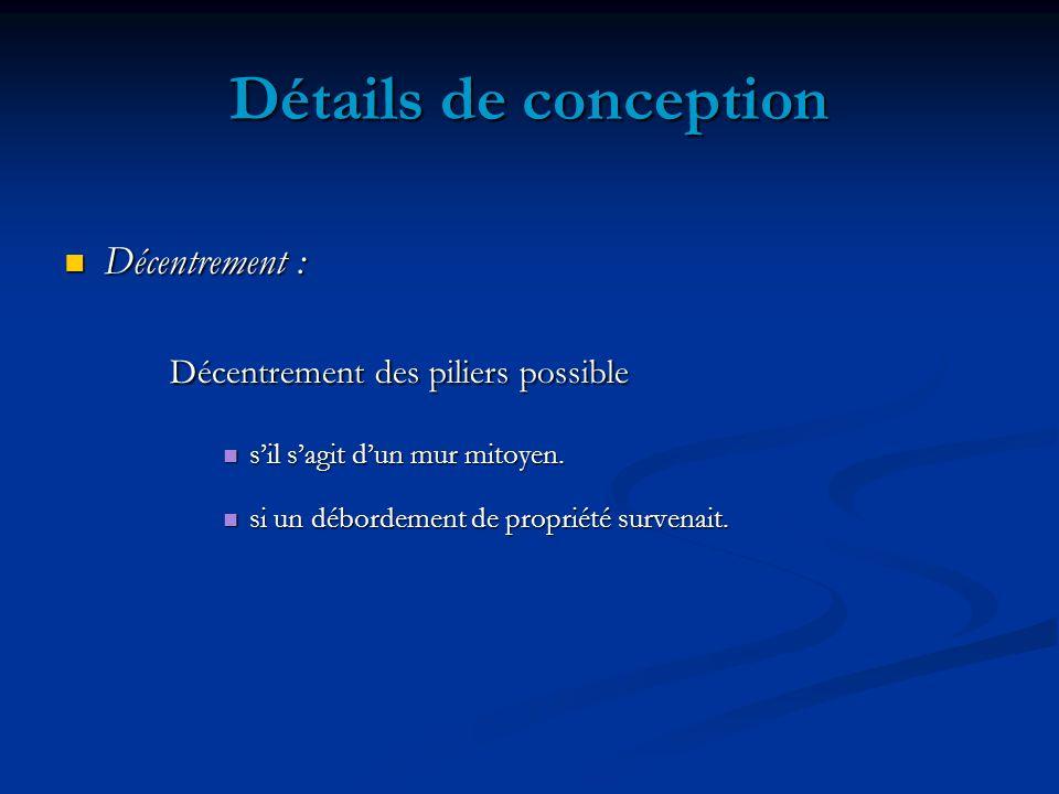 Détails de conception Décentrement : Décentrement : Décentrement des piliers possible sil sagit dun mur mitoyen.