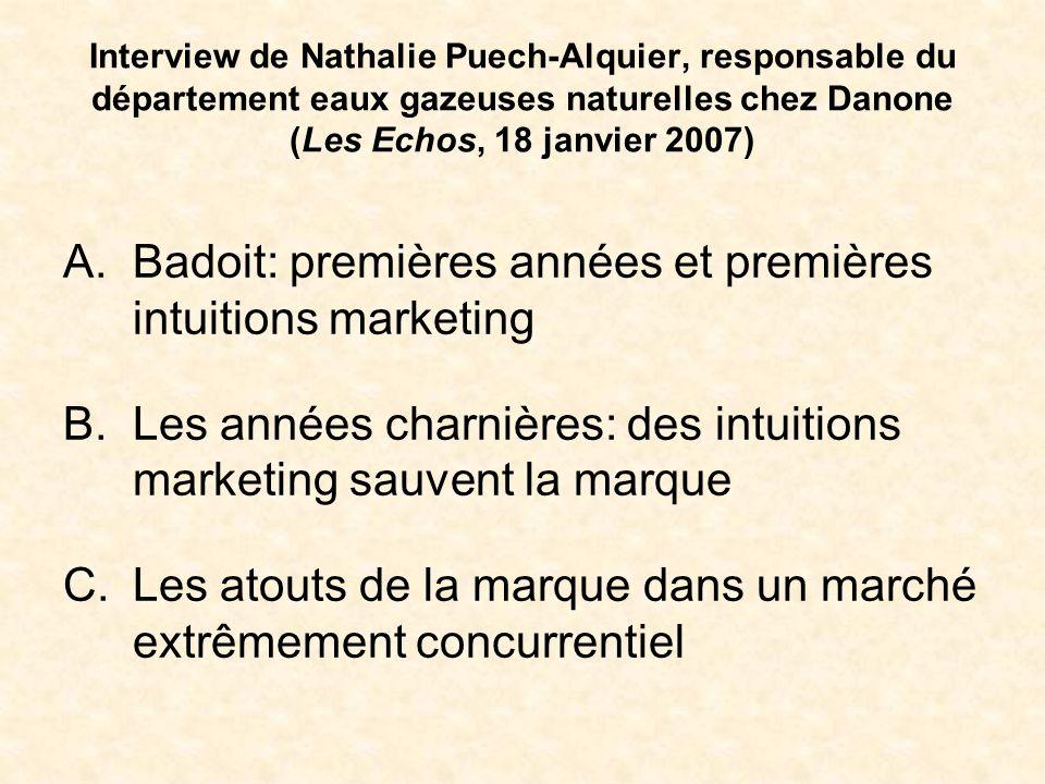 Interview de Nathalie Puech-Alquier, responsable du département eaux gazeuses naturelles chez Danone (Les Echos, 18 janvier 2007) A.Badoit: premières