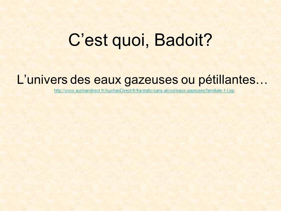 Cest quoi, Badoit? Lunivers des eaux gazeuses ou pétillantes… http://www.auchandirect.fr/AuchanDirect/fr/fra/static/sans-alcool/eaux-gazeuses/familial