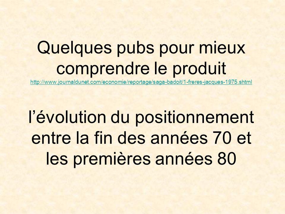 Quelques pubs pour mieux comprendre le produit http://www.journaldunet.com/economie/reportage/saga-badoit/1-freres-jacques-1975.shtml lévolution du po