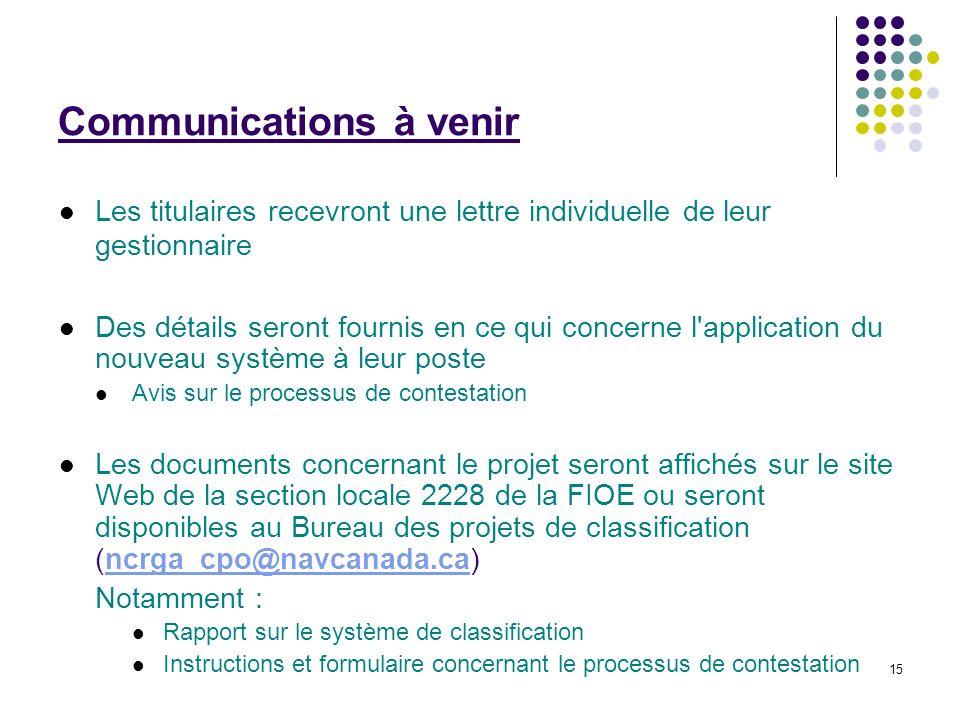 15 Communications à venir Les titulaires recevront une lettre individuelle de leur gestionnaire Des détails seront fournis en ce qui concerne l'applic