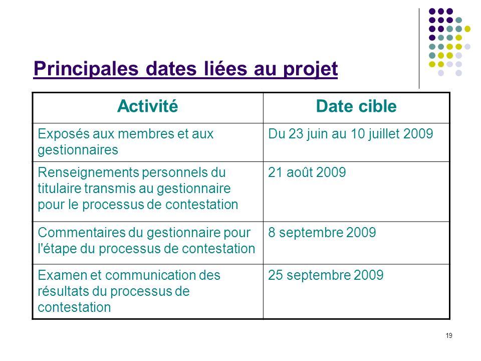 19 Principales dates liées au projet ActivitéDate cible Exposés aux membres et aux gestionnaires Du 23 juin au 10 juillet 2009 Renseignements personne