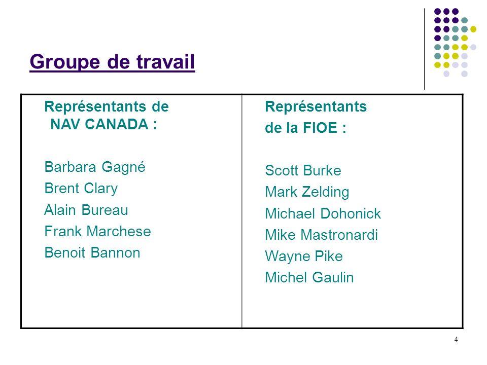 4 Groupe de travail Représentants de NAV CANADA : Barbara Gagné Brent Clary Alain Bureau Frank Marchese Benoit Bannon Représentants de la FIOE : Scott