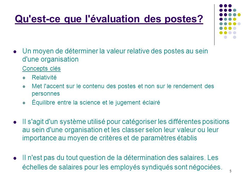 5 Qu'est-ce que l'évaluation des postes? Un moyen de déterminer la valeur relative des postes au sein d'une organisation Concepts clés Relativité Met