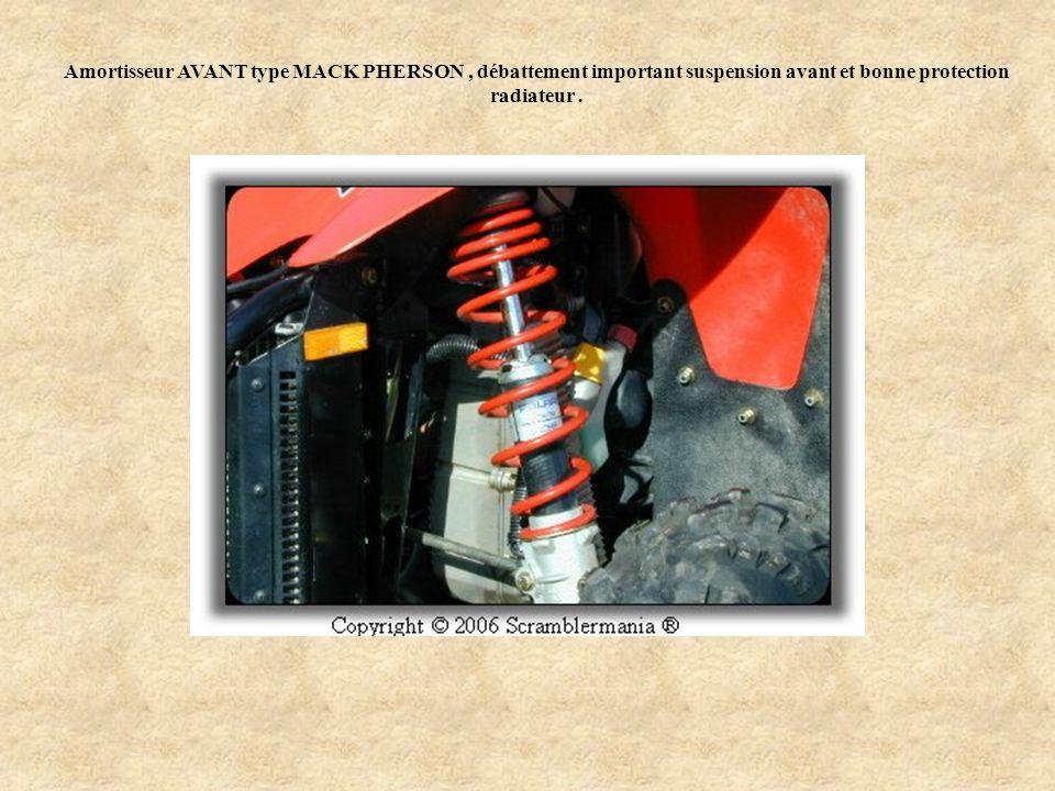 Amortisseur AVANT type MACK PHERSON, débattement important suspension avant et bonne protection radiateur.