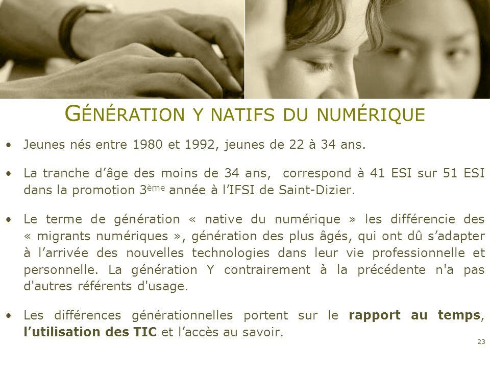 G ÉNÉRATION Y NATIFS DU NUMÉRIQUE Jeunes nés entre 1980 et 1992, jeunes de 22 à 34 ans. La tranche dâge des moins de 34 ans, correspond à 41 ESI sur 5