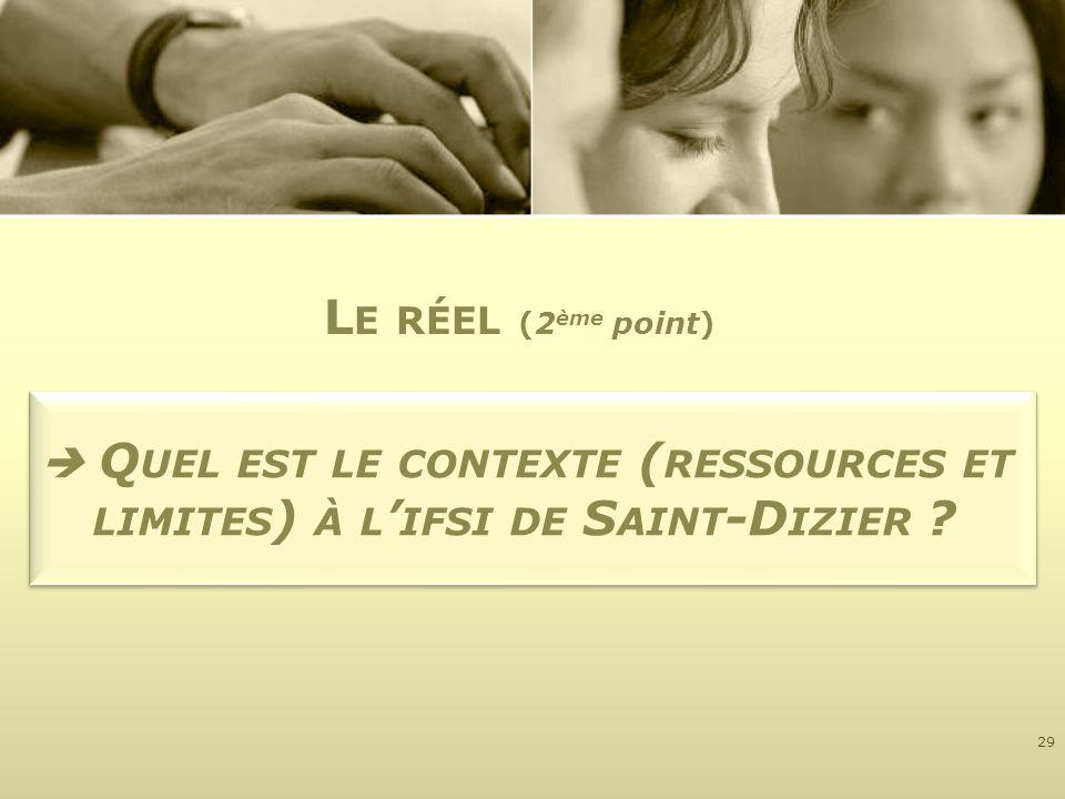 Q UEL EST LE CONTEXTE ( RESSOURCES ET LIMITES ) À L IFSI DE S AINT -D IZIER ? 29 L E RÉEL (2 ème point)