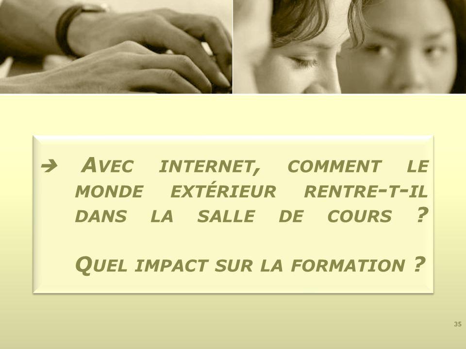 A VEC INTERNET, COMMENT LE MONDE EXTÉRIEUR RENTRE - T - IL DANS LA SALLE DE COURS ? Q UEL IMPACT SUR LA FORMATION ? 35